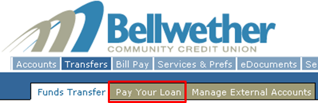 The Pay Your Loan tab will be on the second row after clicking on Transfers and will be a light brown color.