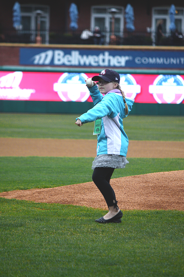 Tessa Sobolewski throws out the ceremonial first pitch at the New Hampshire Fisher Cats game!