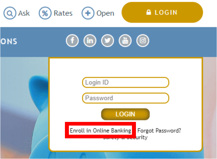 The Web24 Login Box to access Online Banking