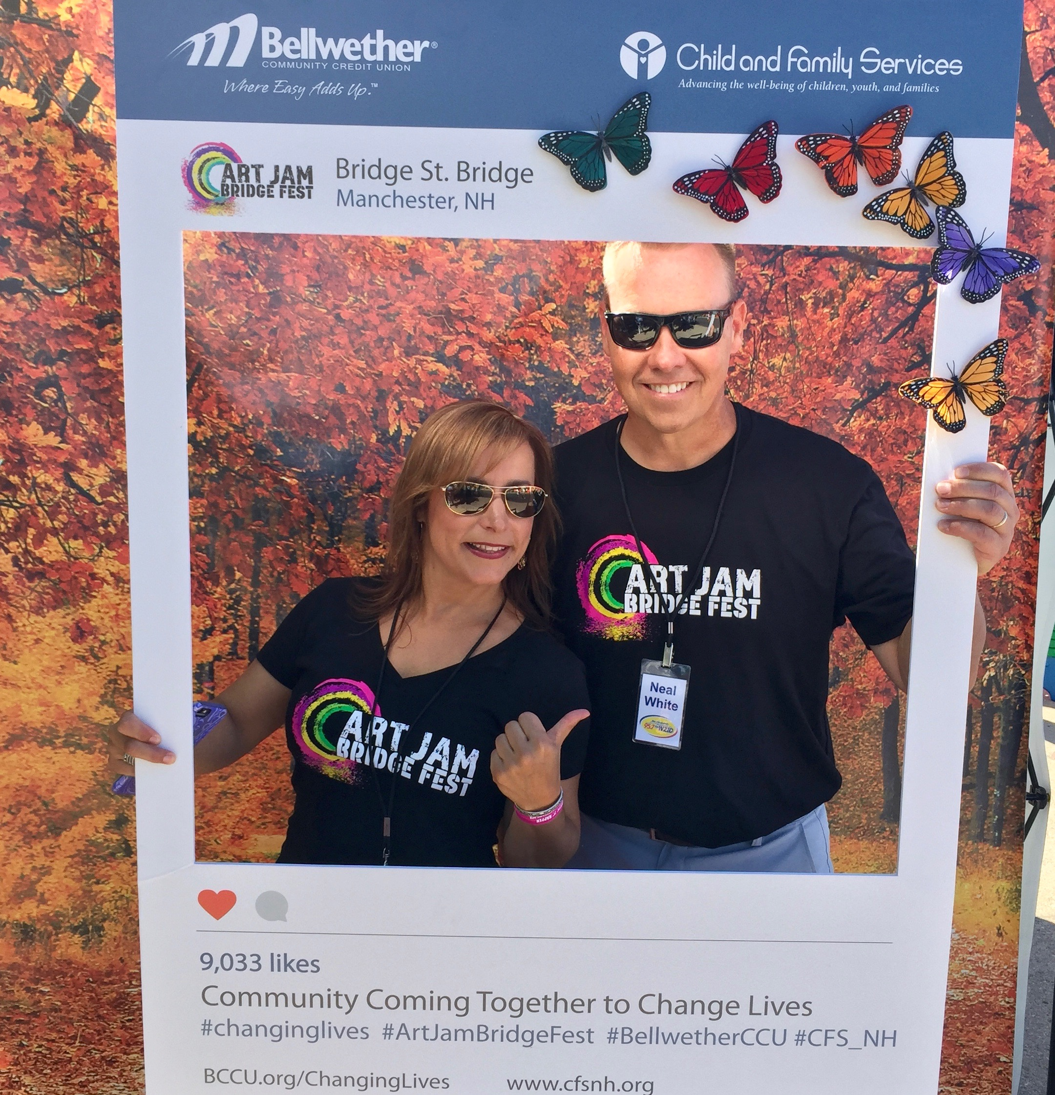 Neal and Marga from WZID posing with a Bellwether instagram frame.