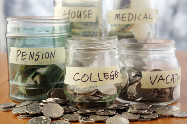 savings, money market accounts, MMA, high rates, credit union, vacation, college, pension, medical, house, money jars