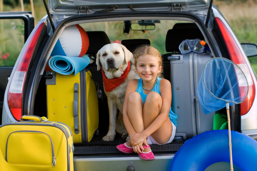 back of station wagon with suitcases, girl and dog