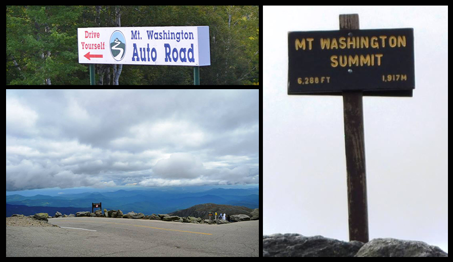 photo collage of Mount Washington view & signs