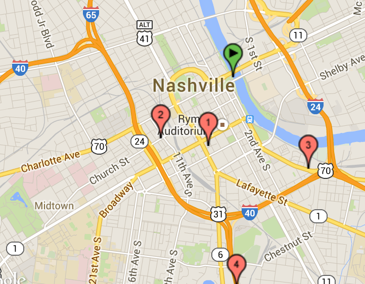 Google Map screenshot showing Nashville