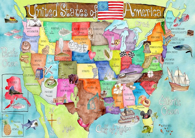 kid's map of the USA