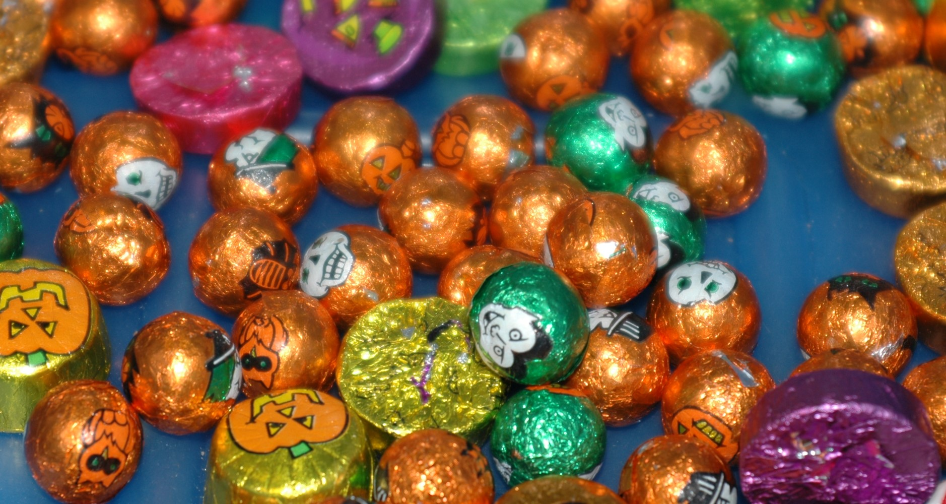 photo of foil-wrapped halloween chocolate